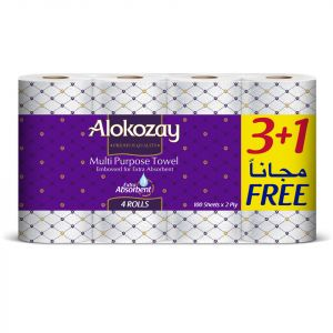 Alokozay Multi Purpose-Towel - 2Ply X 100 Sheets - 3 plus 1 Rolls