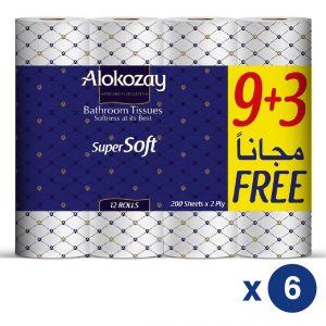BATHROOM TISSUES – 9+3 ROLLS X 2 PLY X 200 SHEETS X6