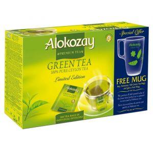 GREEN TEA - 100 ENVELOPE BAGS + MUG X PACK OF 12