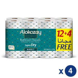 BATHROOM TISSUES - 12+4 ROLLS X 3 PLY X 160 SHEETS - PACK OF 4