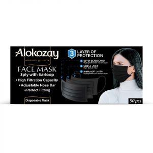 BLACK FACE MASK 50 PCS - 3 PLY