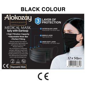 MEDICAL FACE MASK - BLACK - 50 PCS X PACK OF 12