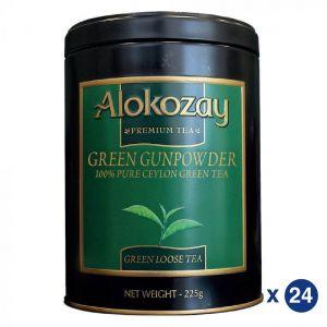 Alokozay Gunpowder Green Tin Tea 225gms Pack Of 24