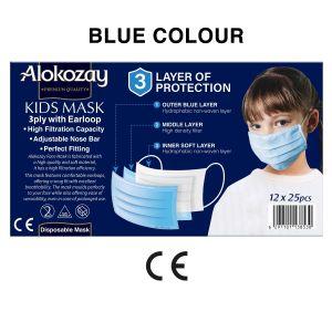 KIDS FACE MASK - BLUE - 25 PCS X PACK OF 12
