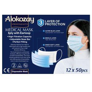 Alokozay Disposable Face Mask 50 pcs -3 play - Pack of 12