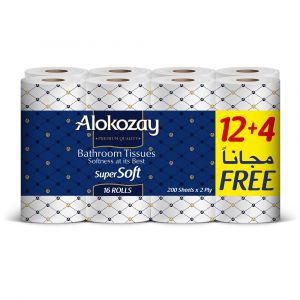 Alokozay Bathroom Tissue-2Ply X 200 Sheets - 12 plus 4 Rolls