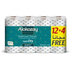 Alokozay Bathroom Tissue-3Ply X 160 Sheets - 12 plus 4 Rolls